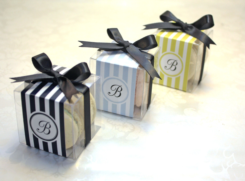 French Macaron Boxes, Black and White, Wedding Favor Boxes - 24 ...