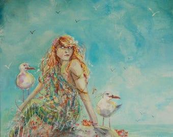 Waiting mermaid A4 print
