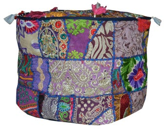Vintage Indian Ottoman, Pouf Handmade, Handstiched Pouf Cover, Seating Stool, Bean bag, pouffe, Patchwork Pouf cover Pouf Ottoman, Foot rest