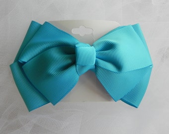 Blue Classic Grosgrain Boutique Bow, Hair bow, Hair Accessories, Girls, Toddlers, Baby, Photo Props
