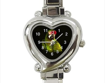 Military Macaw Parrot Bird Ladies Women's Heart Italian Watch
