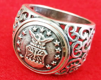 Sterling Silver Ring with US Air Force  Uniform Button