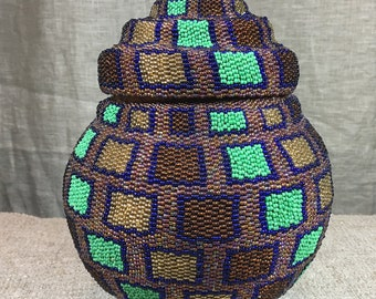 Beaded hand made basket from Indonesia