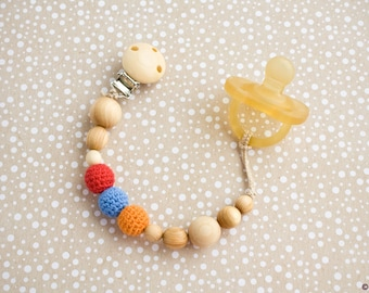 Choose Your Colors - Wooden Pacifier Clip - Teething Clip, Paci Holder, New Baby Gift - PC19