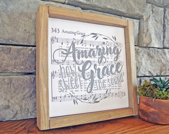 Amazing Grace Framed Hymn Wall Art
