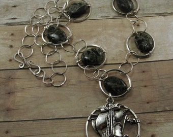 Kambaba Jasper and Sterling Silver Necklace with Ship Pendant