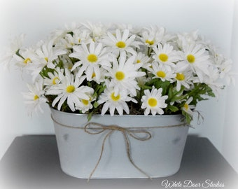 Farmhouse Silk Daisy Centerpiece in Gray Oval Metal Planter