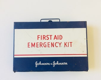 Vintage First Aid Box Industrial Metal Johnson and Johnson 1970s