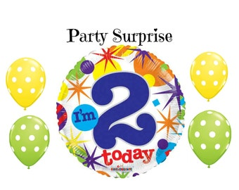I'm 2 Today Balloons 2nd Birthday Party Balloons, Two Year Old Birthday Party Balloons