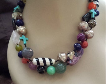 Two strand assorted stone necklace made by petronella designs