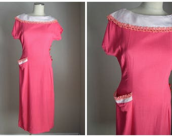 vintage 50s hot pink wiggle pencil sheath dress with pocket -- womens 36-29-40