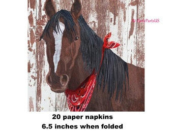 horse napkins, farm birthday party decorations, brown horse, derby, cowboy party, cowgirl, farm animals, pony, horse racing, red bandanna