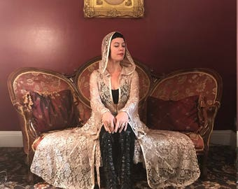 NEW Limited Edition: The Lace Priestess Cloak with Hood in Antique Ivory or GunMetal by Opal Moon Designs (Sizes XS-XXL)