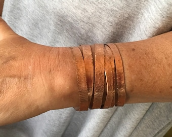 Textured copper bracelet