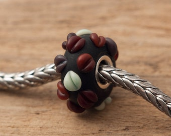 COFFEE LOVER - Lampworked Big Hole / Slider Bead