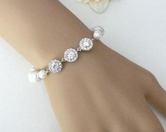Wedding Bracelet Bridal Bracelet - White Clear 3 Round Halo Cubic Zirconia and Pearl Bracelet
