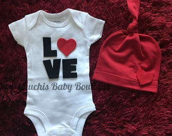 Baby's First Valentine outfit  Newborn Baby LOVE Onesie and Hat
