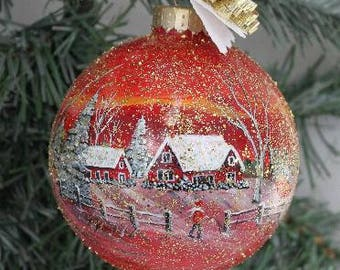 Hand Painted Christmas Ornament - Winter Scene Glass Ornament - Hand Painted Christmas Ornament - Christmas Gift Glass Ornament Painted