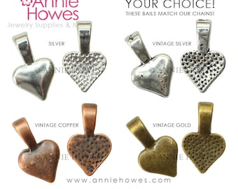 Glue Pad Bails. Heart Shaped Bails in your choice of color. Silver, Vintage Silver, Vintage Copper or Vintage Gold.