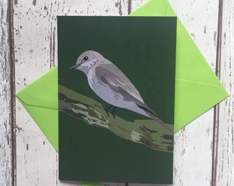 Spotted Flycatcher greeting card | bird greeting card |  blank inside