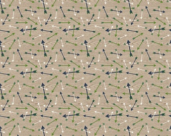 SALE The Great Outdoors Arrows Tan - Riley Blake Designs - Brown Green Hunting - Quilting Cotton Fabric - choose your cut