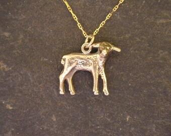 14K Gold Lamb pendant on a 14K Gold Chain.