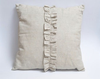 Linen ruffle pillow cover - Size Size 18x18, 20x20 or 22x22inch