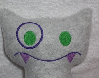 Handmade Stuffed Big Gray Snaggle Fanged Monster - Fleece, Child Friendly