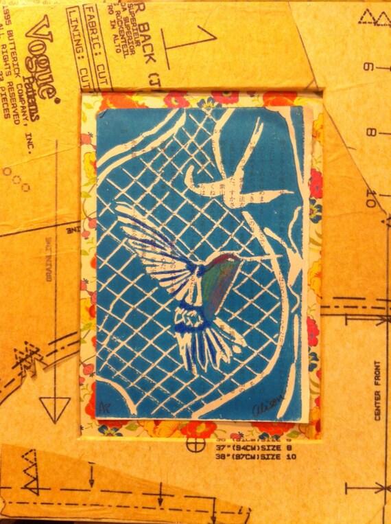 Retro Humming Bird linocut 8x10 matted print