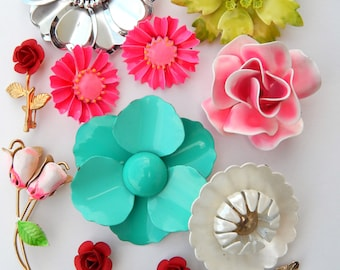 Jewelry Lot Vintage Enamel Flower Pins Brooches Earrings, Groovy Flower Jewelry Pink Red White White Teal Green Enamel Flower Bridal Bouquet
