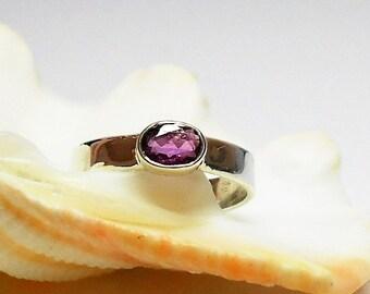 Sterling Silver Gemstone Ring, Stacking Ring, Silver Pink Tourmaline Ring, Sterling Silver Birthstone Ring, Silver Birthstone Ring