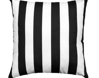 Black and White Pillow Covers, Striped Decorative Throw Pillow Covers, Canopy Black with Hidden Zipper, 18x18 20x20 22x22 24x24 26x26 Cover