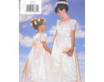 Long Flower Girl Dress Petticoat 2 to 4 Toddler Sewing Pattern Butterick 2382 Vintage