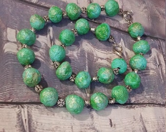 Hand made bead necklace and bracelet fake turquoise ,Gift for her,Armour jewelry, Green beads,