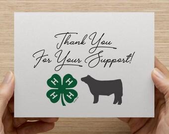 Show Steer, Show Lamb, Show Goat, Show Pig, 4-H, FFA, Thank You Card, Appreciation Card, Steer, Lamb, Goat, Pig, Card, Cards, Rabbit, Hen