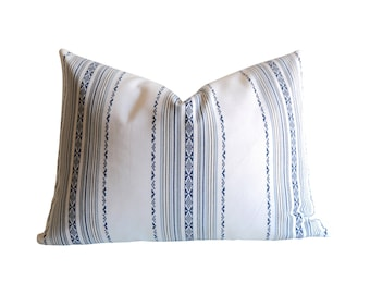 Embroidered White & Blue pillow cover / Blue Stripe Decorator Pillows / Decorative Throw Pillow Cover / Pillow Slipcover