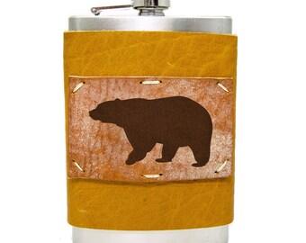 Black Bear Flask 8oz Homemade in Aspen in Honey Ginger