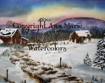 Barns of yesteryear, original 18 x 24 watercolor landscape
