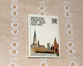 Vintage book. Soviet book in English The Moscow Kremlin and Red Square. Pocket size guide book. USSR history book. Photo guide book. Moscow.