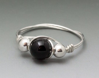 Black Onyx & Sterling Silver Wire Wrapped Bead Ring - Made to Order, Ships Fast!