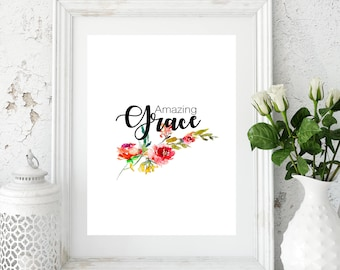 Amazing grace sign, amazing grace print, amazing grace cross, grace sign, how sweet the sound, amazing graced decor, amazing grace, hymn