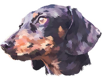 Dachshund Wiener dog. Cross Stitch pattern, Digital Download PDF. Geometric Dachshund face with color patches in his fur. Bright and Modern