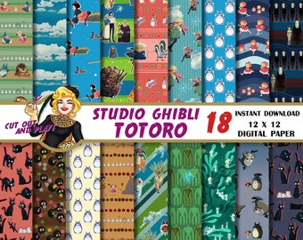 Totoro digital paper, Studio Ghibli, Kiki, Howls moving castle, Mononoke, Ponyo, Anime, wrapping paper, Scrapbook, planner, journal