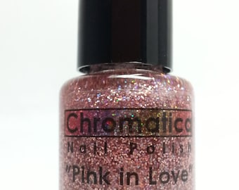 Pink In Love-Handmade Pink Holographic Glitter Topper/Overlay Nail Polish, 5ml Mini Bottle, Valentines Day nail polish
