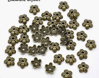 20 bead caps in antique bronze 6 mm