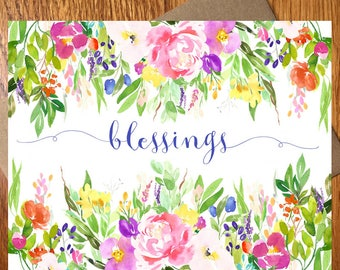 Blessings Note Card / Every Day Spirit / Blue Blessings Card / Floral Card / Thinking of You Card / Get Well Note Card / Thank You Note Card