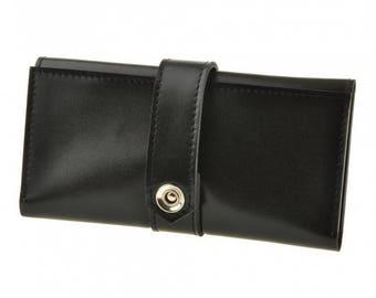 Black cash wallet Black cash purse Cash and phone wallet Black leather womens purse Black leather womens wallet Black womens phone wallet