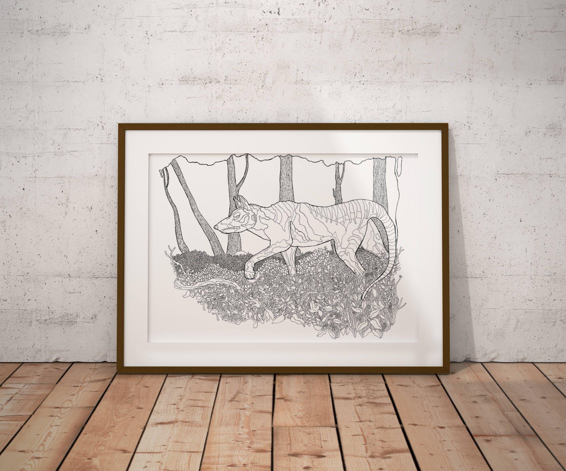 Kryptozoologie Malvorlagen Tasmanian Tiger Zeichnung