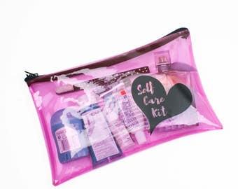 Treat Yo Self Toiletry Bag Self Care Kit Clear Vinyl Zipper Case Self Love Mental Health Motivational Gifts Cute Pink Pouch