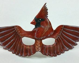 Leather Cardinal Mask Bird Mask Red Bird Mask